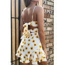 Trendy Flower Printed Spaghetti Straps Hollow Out Knot Back White Chiffon Mini Ruffle Sun Dress