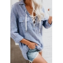 Womens Casual Pinstripe Printed Lace-Up V-Neck Long Sleeve Flap Pockets Oversized Shirt