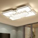 Modern Rectangular Flush Lighting Acrylic and Crystal Led White Flush Ceiling Light in Warm/White Light, 23.5