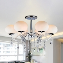 Sphere Milk White Glass Semi Flush Lamp Modern 6-Light Chome Ceiling Light Fixture with Crystal Drops