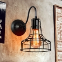 Industrial Style Barn Cage Wall Lighting Metal 1 Light Corridor Wall Sconce with Gooseneck Arm in Black