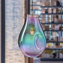 Modern Teardrop Hanging Lamp Purple/Green Dimpled Glass Dining Room Suspension Pendant