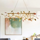 Branch Colorful Crystal Island Lighting Nordic 16/24 Heads Gold Hanging Light Fixture
