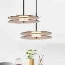 Disc Pendant Light Contemporary Tan Glass 1 Light Dining Room Hanging Pendant Light