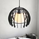 Iron Frame Dome Hanging Lamp Kit Modern 1 Head Black/White Pendant Lighting Fixture for Living Room