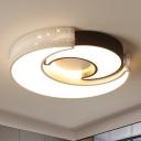Black and White Moon Flush Lighting Modern Simple Iron Ceiling Flushmount in Warm/White, 16