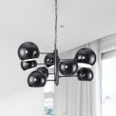 8 Lights Dome Chandelier Lighting Post Modern Black Pendant Lighting with Metal Chain