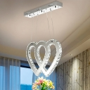 Silver Heart Chandelier Lighting with Crystal Bead Led Modern Hanging Light for Dining Table