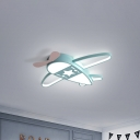 Pink/Blue Plane Flushmount Lighting Metal Modernism LED Flush Mount Lamp in Warm/White Light, 19.5