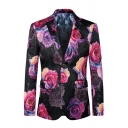 Stylish Rose Red Floral Pattern Notched Collar Long Sleeve Double Buttons Retro Suit Blazer