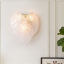 Leaf-Shaped Wall Mount Light Modern Style Frosted Glass 3 Heads White Wall Lighting for Hallway