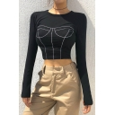 Basic Long Sleeve Crew Neck Body Shape Printed  Slim Fit Black Crop T-Shirt for Ladies