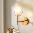 Faceted Globe Bathroom Wall Sconce Clear Glass 1 Light Contemporary Style Wall Mount Lamp in Gold