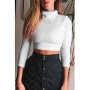 Edgy Girls' Long Sleeve Turtleneck ROCK MORE Print Fluffy White Slim Crop Top