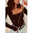 Plain Trendy Women's Long Sleeve One-Shoulder  Button Detail Knit Slim Fit Bodysuit