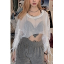 Sexy White Long Sleeve Round Neck Drawstring Sheer Fish Net Loose Fit Crop Top for Girls