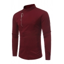 Mens Unique Embroidery Pattern Oblique Placket Long Sleeve Fitted Retro Plain Shirt