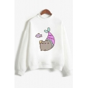 Lovely Cartoon Fat Cat Pattern Long Sleeve Mock Neck White Casual Sweatshirt for Girls