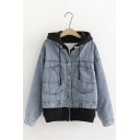 Womens Stylish Denim Panel Zip Placket False Two Piece Loose Jean Jacket with Hood