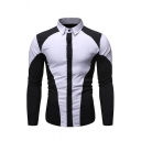 Stylish Color Block Patch Long Sleeve Single Breasted Turndown Collar Leisure Shirt