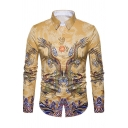 Chinese Style Dragon Printed Long Sleeve Button Up Yellow Vintage Shirt for Men