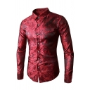 Mens Popular Solid Color Burgundy Long Sleeve Button Up Paisley Shirt for Nightclub
