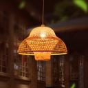 Handmade Bamboo Pendant Light Single Light Asian Style Indoor Suspension Light for Tea Room