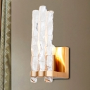 Textured Glass Shade Flush Wall Sconce Loft 1 Light Wall Mounted Lighting in Gold
