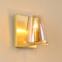 Brass 1 Bulb Wall Lamp Colonial Clear Glass Tapered Sconce Light Fixture for Bedroom