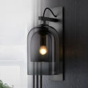 Dome Amber/Smoke Gray Glass Sconce Colonialism 1 Bulb Living Room Wall Light Fixture