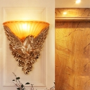 Flared Living Room Wall Lamp Colonialism Ribbed Glass Single Light Gold/White Wall Lighting Sconce