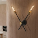 Crossed Metal Sconce Light Colonial 2/3-Light Living Room Wall Mounted Lamp in Black and Gold