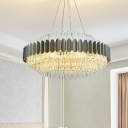 Prismatic Crystal Tubular Chandelier Lamp Modern 12-Light Grey Ceiling Pendant Light