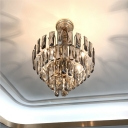 7-Light Bedroom Chandelier Lamp Modern Pendant Light Kit with Tiered Clear/Smoke Gray Crystal Shade