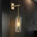 1 Bulb Capsule Wall Light Sconce Modern Stylish Clear Glass Shade Indoor Wall Lighting with Gold Arm