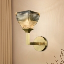 1/2 Heads Sconce Light Modernist Torch Prismatic Glass Wall Lamp with Upright Gold Arm