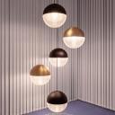 Globe Suspension Light Modernist Clear Prismatic Glass 1 Bulb Gold/Black Hanging Lamp Kit