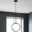 Opal Glass Ball Hanging Lamp Contemporary 1 Bulb Pendant Ceiling Light with Round Metal Frame
