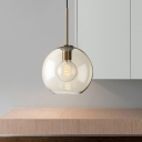 1 Light Bedroom Hanging Light Modern Brass Pendant Lamp with Globe Amber Glass Shade, 8