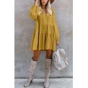 Women's Plain Long Sleeve Tied V-Neck Holiday Mini Ruffled Dress