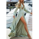 Plain Ethnic Long Sleeve Surplice Neck Bow-Tie Waist High Slit Side Maxi Boho Flowy Dress for Ladies