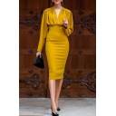 Fancy Formal Long Sleeve V-Neck Zipper Back Ruched Yellow Midi Bodycon Dress for Women