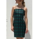 Sexy Ladies' Sleeveless Plaid Patterned Bow-Tied Back Eyelet Slim Fit Short Sheath Cami Dress in Green