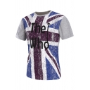 Letter THE WHO Union Jack Printed Short Sleeve Light Gray T-Shirt