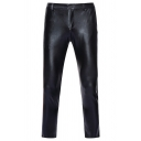 Mens Cool Plain Metallic Zipper Placket Skinny Pants for Disco Dancing