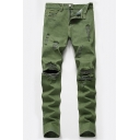 Plain Army Green Zip Placket Shredded Ripped Denim Pants Loose Jeans