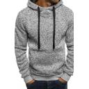 Mens Simple Whole Color Long Sleeve Fleece Sport Pullover Hoodie