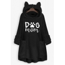 Womens Trendy Letter DOG MOM Claw Print Long Sleeve Oversized Cat Ear Pullover Hoodie