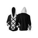 Mens Simple Colorblock Drawstring Hood Long Sleeve Zip Up Leisure Cosplay Hoodie