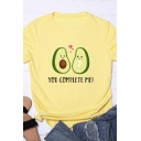 Womens Lovely Avocado YOU COMPLETE ME Print Short Sleeve Crew Neck Graphic T-Shirt